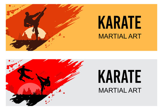 Martial Arts, Silhouette of two male karate fighting, Vector