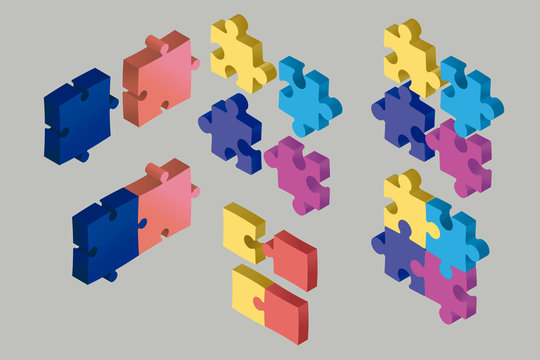 Isometric Puzzle Pieces Floating