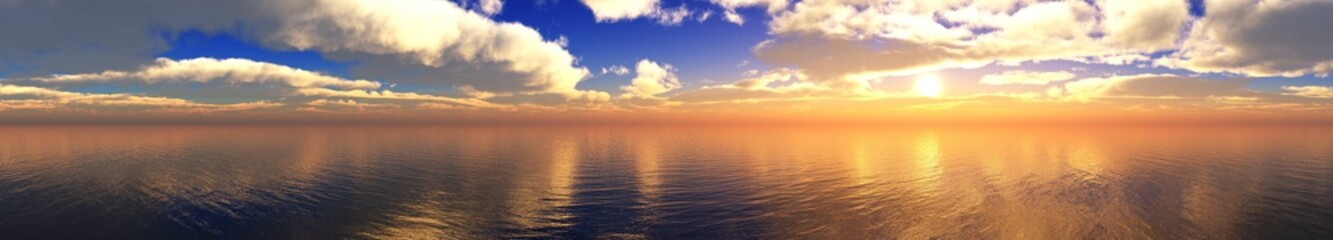 beautiful panorama of the sea sunset, the sun among the clouds above the ocean surface,