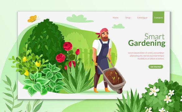 Gardening cartoon landing page