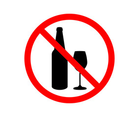 Prohibiting sign for alcohol. No drinking sign. Vector illustration