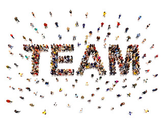 Team concept .3d rendering of a diverse large group of people forming the shaped text word for teamwork. Illustration is on an isolated white background