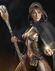 Fantasy cloaked wizard female posing with staff using magic. 3d rendering