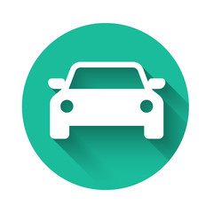White Car icon isolated with long shadow. Green circle button. Vector Illustration