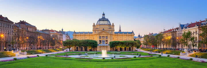 Panoramic View of the Art Pavilion and Park at sunset in Zagreb, Croatia Wall mural