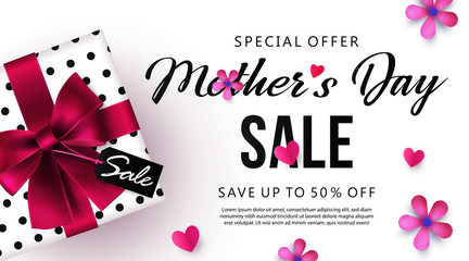 Mother's Day sale banner or poster design with beautiful gift box, paper hearts and flowers. Place for your text. Trendy holiday Sale flyer, social media and fashion ad, promotion flyer background