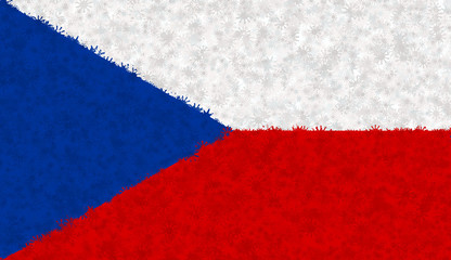 Graphic illustration of a Czech flag with a star pattern