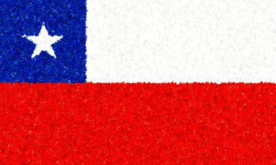Illustration of a Chilean flag with a pattern of floweres scattered around