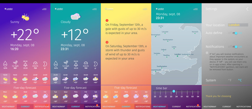 weather app screens line art modern design trendy style collection