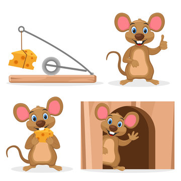 Set mouse with cheese in a hole and mousetrap on a white. Character.