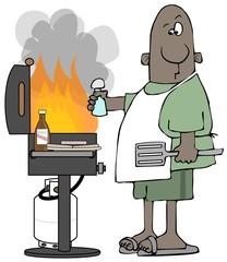 Ethnic man grilling hamburgers