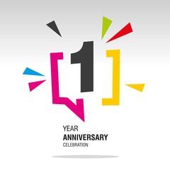 1 Year Anniversary colorful white modern logo icon banner holiday illustration