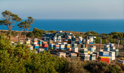mediterranean beehives in front of the ocean, Kefalonia Greece