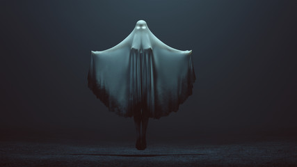 Floating Evil Spirit Ghost with Arms Out and Glowing Eyes in a Death Shroud in a Foggy Void Front View 3d Illustration 3d Rendering Wall mural