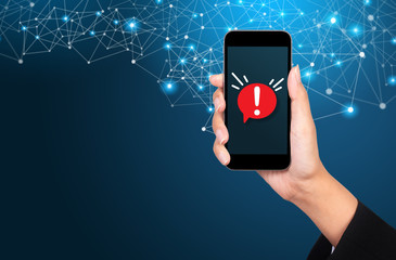 Concept of malware notification or error in mobile phone