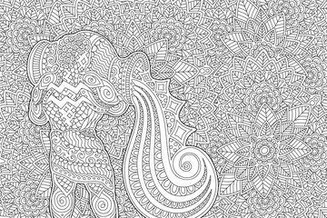 Aquarius on black and white floral pattern