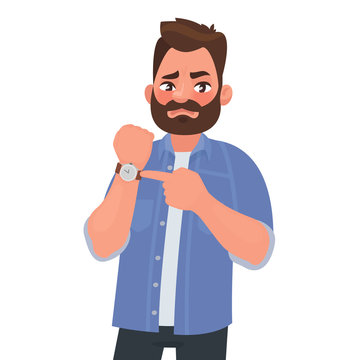 Dissatisfied man shows on the clock. Hurry up. Deadline. Impatient boss. Vector illustration