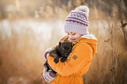 girl in a warm jacket and knitted hat carries a small puppy in her hands, hugs him, hugs him, walks through the winter park.