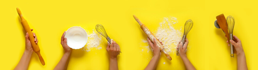 Female hands holding kitchen tools, sieve, rolling pin, bowl, sieve, brush, whisk,  cooking over yellow background. Food frame, bake concept with copy space.Flat lay top view banner