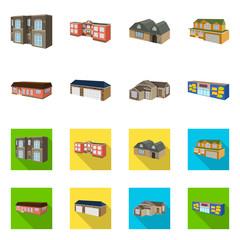 Vector design of facade and housing logo. Set of facade and infrastructure stock vector illustration.