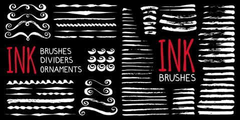 Ink brushes , dividers and ornaments