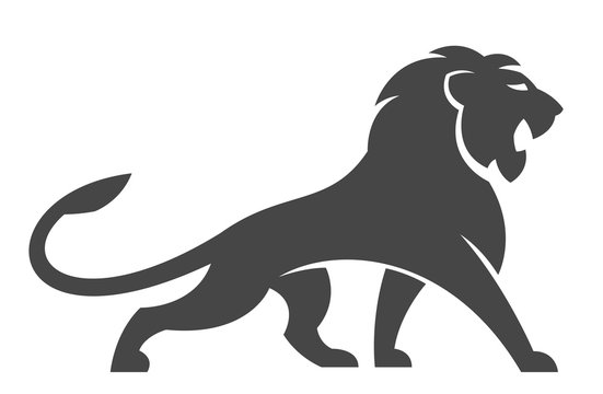 Lion logo on a white background