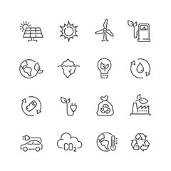 Ecology and recycling related icons: thin vector icon set, black and white kit
