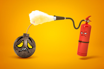 3d rendering of round bomb with sad cartoon face, its fuse being doused by red fire-extinguisher with sulky cartoon face on yellow background.