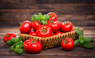 Fototapeta Fresh ripe tomatoes and basil in the basket obraz