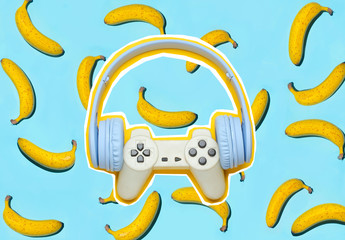 Zine style, pop art design. Creative collage with gamepad and headphones on bananas background