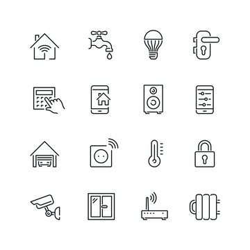 Smart house related icons: thin vector icon set, black and white kit
