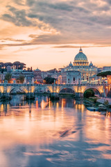 Fototapete - The city of Rome at sunset with the view on the Vatican