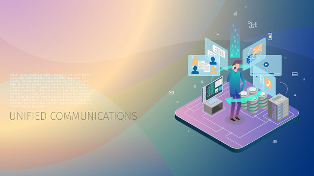 modern isometric design style conceptual composition Unified Communications metaphor