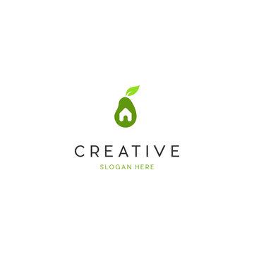 Home Fruit Avocado Creative Vector Logo Design