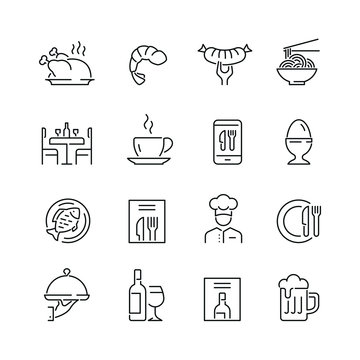 Restaurant related icons: thin vector icon set, black and white kit