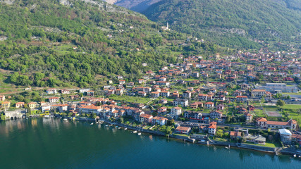 Fotobehang Nice Aerial drone panoramic photo of famous beautiful lake Como one of the deepest in Europe, Lombardy, Italy