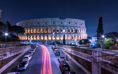 Rome Coliseum night scenic cityscape. Urban landscape Colosseum Fototapete