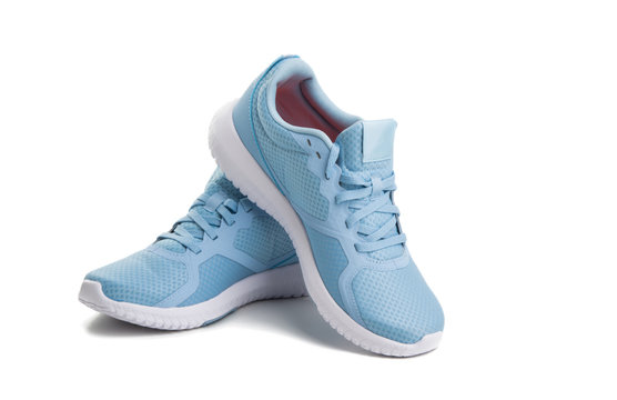blue sneakers isolated
