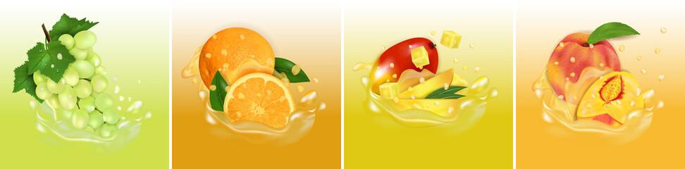 Fruit juice splash. Set fresh Mango, Orange, Peach and Grape 3d realistic vector illustration. Package design or poster.