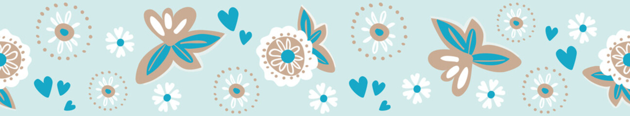 Modern, romantic floral seamless border, perfect for textile and fashion designs, ribbon and wedding decorations. Soft turquoise with white, teal and brown. Lovely for beach weddings trims.