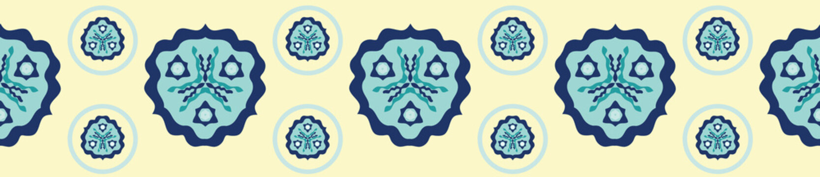 Decorative tiled geometric medallion border. Seamless repeat vector design in teal, light turquoise, navy blue and light yellow. Great for summer textiles, beach, resort and seaside home decor.
