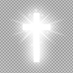 Shining silver cross isolated on transparent background. Riligious symbol. Glowing Saint cross. Easter and Christmas sign. Vector illustration