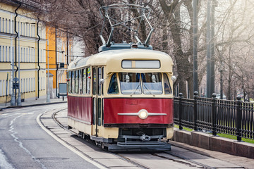 Old vintage tramway cars on the empty city street. Moscow. Russia.