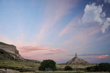 Chimney Rock National Historic Site in early morning, western Nebraska, USA