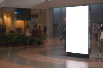 blank billboard white screen LED vertical advertising banner board indoor in subway station ad interior public hall. Fotomurales