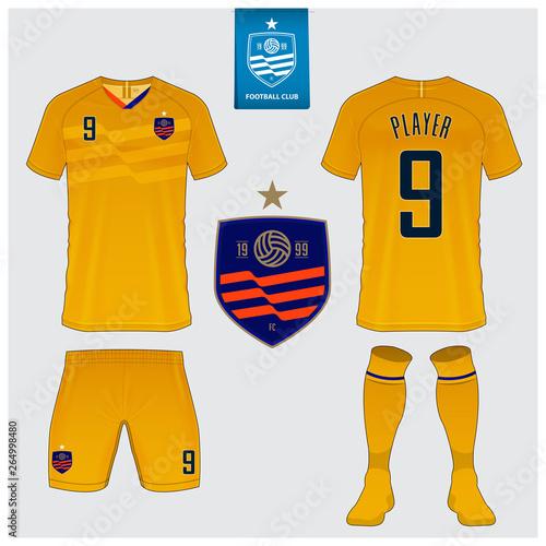caac7e338 Soccer jersey or football kit mockup template design for sport club. Football  t-shirt