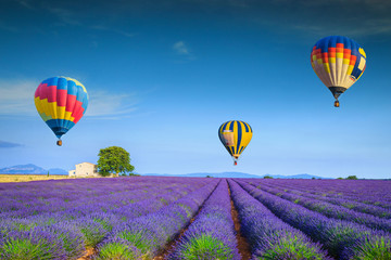 Foto op Plexiglas Ballon Admirable violet lavender fields and colorful hot air balloons, France