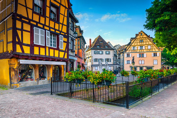 Beautiful medieval city center with colorful buildings, Alsace, Colmar, France