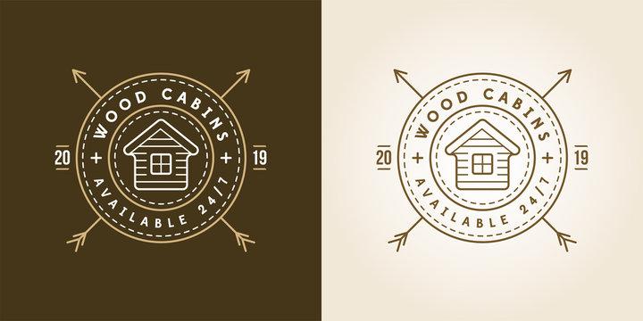 Set of Vector illustration Vintage logo with Wooden cabin. Retro print design, stamp. T-shirts, Poster Design.