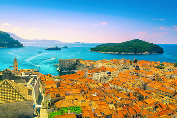 Picturesque Dubrovnik cityscape with harbor and green island, Dalmatia, Croatia